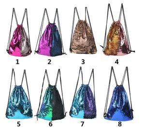 Moda Denizkızı Pullu Sırt Çantası Pullarda İpli Çanta Ters Paillette Seyahat Sırt Çantası Glitter Omuz Çantaları Seyahat Çantası