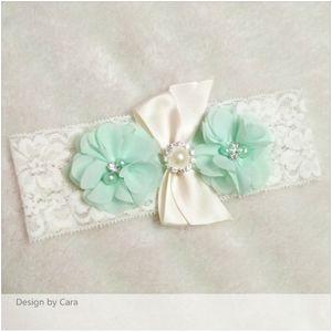 1 쌍의 귀여운 섹시한 레이스 웨딩 레이스 가터 화이트 스트레치 레이스 토스 가터 그린 시폰 꽃 Diamon Garters Bridal