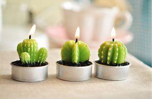 Atacado Rare New Mini Cactus Velas Decor Planta Início Mesa Jardim 6pcs / lot kawaii casa Decoração frete grátis