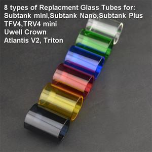 Tubos de vidro colorido TFV 4 8 tipos Uwell Crown Kanger Subtanque nano Subtanque mini Subtanque Mais Atlantis V2 Triton DHL Navio Livre