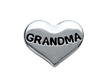 FASHION diy en alliage original pendentif accessorieds float locket charme lettre charme grand-mère en forme de coeur verre lock charme jelwery drop delivery