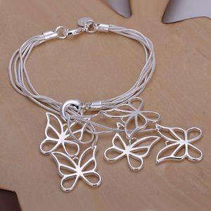 Sıcak satış en iyi hediye 925 silverTai Ki asılı beş kelebek Bilezik DFMCH027 gümüş kaplama Zincir bağlantı bilezik yüksek dereceli