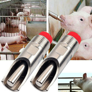 5 unids 7 cm Cerdo Espesar Acero Inoxidable Automático Nipple Beber Animales Beber Instrumento Waterer Feeder Farm Equipment