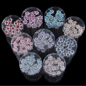 40 adet lot Düğün Gelin Inci Çiçek Kristal Rhinestone HairPins Nedime Klipler Saç U Giymek Tiara Takı Saç Aksesuarları 8 Renkler