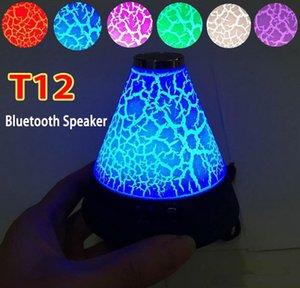 T12 Mini Alto-falantes Sem Fio Bluetooth Bulbo Subwoofers Altifalante Portátil 7 Cor LEVOU Luz Dinâmica Da Noite de Voz Inteligente Mic TF Cartão de Rádio FM