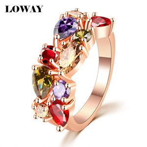 Wholesale-LOWAY Fashion Multicolor Rings Women Anillos Cubic Zirconia 18K Rose Gold Plated Wedding Finger Ring Fine Jewelry Bague JZ5900