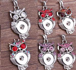 2020 Botão Multicolor Owl Ginger snap pingentes colar com cristal jóias intercambiáveis Jewerly 6 cores para escolhas