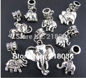 100p Mix Antiques aleación de plata Animal elefante cuelga los encantos de los colgantes para la pulsera europea joyería de moda haciendo cuentas accesorios de la marca