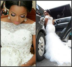 2020 Nouveau Taille Plus Arabe Nigeria Robes à manches courtes perles hiérarchisé longue train chapelle Tulle Robes de mariée sirène 379