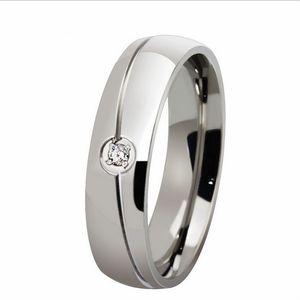 Wedding Aço Womens 6MM livre gravura 1PC Mens Titanium inoxidável Anel de cristal CZ Embutidos cúpula Banda US Tamanho 5-13