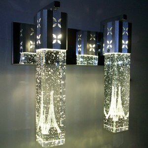 NOUVEAU moderne 5W LED cristal Bulle mur lampe en cristal de cylindre Forme Colonne Salon Applique Miroir lumière RGB Blanc Chaud Lustre Lumière