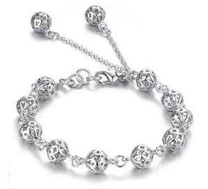 Серебряные браслеты горячей продажи романтический полый шар браслет для женщин девушка свадьба ювелирные изделия Оптовая Бесплатная доставка-0115WH