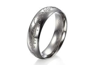 Envío gratis Tamaño de EE. UU. 7/8/9/10/11/12 Ancho 6 mm Los anillos de titanio Un anillo de poder señor anillos para hombres