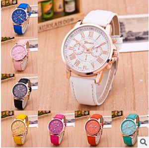 Мода тень Женева 3 глаза женские мужские унисекс часы Кварцевые relogio римские цифры искусственной кожи аналоговые наручные часы mix цвета