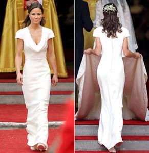 저렴한 Pippa 미들 빈티지 신부 들러리 드레스 V - 목 간단한 반구 화이트 새틴 입은 예복의 하녀 빈티지 Eveing 드레스