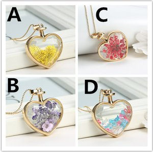 Heart Flower specimens Pendant Necklace Alloy transparent glass crystal stars locket Solitaire Pendants chain Can not Open Glass
