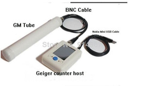 Freeshiping Digital Geiger Counter Nuclear Radiation Detector Radioactive Particles Detector with Nokia Mini USB Cable + BNC Cable + GM Tube