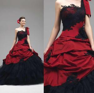 2019 Vestidos de novia góticos rojos y negros Vestidos de novia de tul de tafetán de encaje de un hombro Vestidos de novia Vestidos de novia con cordones Volver W1062