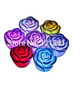 Wholesale-7 Changing Colors Rose Flower LED Light Night Candle Lamp Candle Light Romantic Party Decor