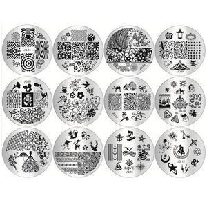 Wholesale-10 pz / lotto Manicure modello di stampa unghie timbratura piatti fai da te blu film nail stampa stampaggio stencil