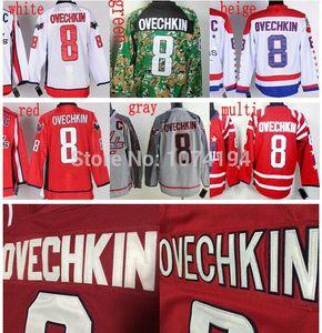 2016 Yeni, Washington Kış Klasik 2015 # 8 Alex Ovechkin Jersey, Ucuz Otantik Gri Beyaz Nakış Kırmızı Çok Dikişli Hokeyi Jerse