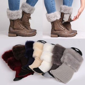 Scaldamuscoli da donna Donna Inverno Warm Knitted Boot Cuff Fur Trim Knit Toppers Boot Socks Leg Warmers