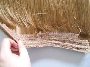 LUMMY бразильские человеческие волосы без клипов Halo флип в наращивание волос, 1шт 100 г Цвет # 24 блондинка легко рыбы линии волос ткачество подоконник прямо