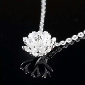 925 itens de prata esterlina jóias de cristal pingente declaração colares encantos de casamento flor de lótus de prata étnica do vintage