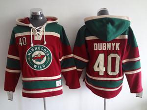 Высшее качество ! Майки Minnesota Wild Old Time хоккейные майки 40 Devan Dubnyk Красный свитер с капюшоном с капюшоном Зимняя куртка