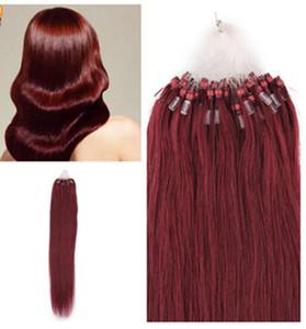 """Оптовая Реми индийские волосы 5А 16""""-24"""" 1 г /с 100 г/Комплект #99j Бургундия петли/микро наращивание волос,100% человеческих волос dhl бесплатно"""