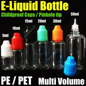 Botella de PE / PET de alta calidad 5ml 10ml 15ml 20ml 30ml 50ml Botella vacía Gotero plástico Botella agujereada Botella a prueba de niños vacía E Botellas de aceite líquido