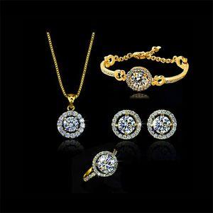 Set di gioielli da sposa romantico per le donne di lusso collana orecchini bracciale set di gioielli in cristallo di rocca 1127