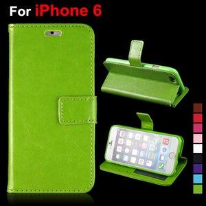 Para iPhone 7 7 PLUS 6 4.7 Plus 5.5 pulgadas Crazy Horse Pattern Stand Estilo Cartera PU Leather Case Photo Frame