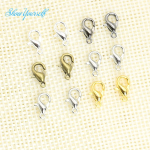 10mm Silver Bronze Gold Plated Lobster Trigger Claw Clasps Connector Jewelry DIY for Jewelry Findings Mixed Color 100pcs lot