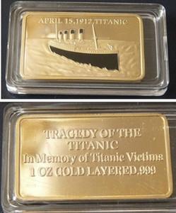 2 pçs / lote Uma verdadeira história de amor Titanic 1912 Rose e Jack Rússia banhado a ouro bullion bar moeda lembrança. Frete grátis