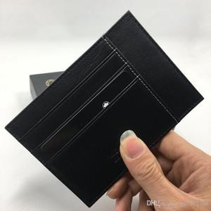 Titular do cartão de crédito de couro genuíno preto carteira de motorista carteira 2018 recém-chegados Carteira de identificação do cartão de moda de alta qualidade bolso fino de bolso