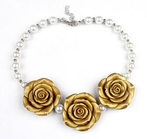 10 unids / lote Nueva llegada boutique resina rosa flor collar niñas princesa chunky bubbegum collar para vestir a7046