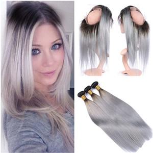 Siver de Malasia Grey Ombre de pelo humano teje con 360 de encaje completa frontal 22.5x4x2 Cierre 360 de encaje recto 1B / Grey Ombre con 3Bundles