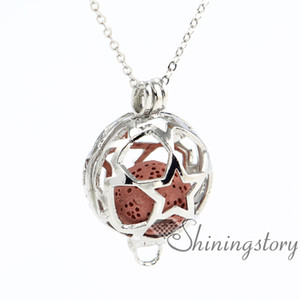 star ball openwork aromatherapy necklace diffuser pendant wholesale jewelry scents aromatherapy locket wholesale lava volcanic stone metal
