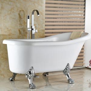 Atacado e Varejo contemporaty Brass Solid Banheiro Shower Tub Faucet Free Standing Tub Filler W / Mão Pulverizador Chrome
