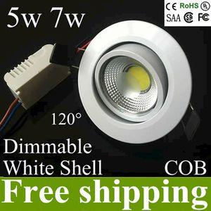 AC85-265v 5w 7w dimmable Pfeiler führte die Deckenlampe, die hinunter Lichtlampe vertieft wurde, führte downlights Schnittloch 70-78mm 120 Öffnungswinkel UL-CER ROHS
