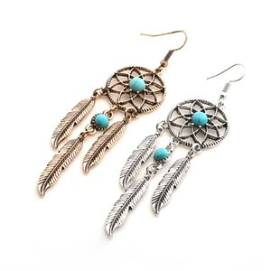 Hot Sale Bohemian Feather Tassel Earrings Hollow Out Beaded Long Dream Catcher Drop Earring For Women Fashion Jewelry Ear Pendant Gift