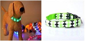 luces de cuello ancho de 2,5 cm de nylon perro D30 con emisor de luz-collar del animal doméstico collar de perro LED diseño Rhombus envío libre