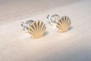 1 Pair-S038 Altın Gümüş Deniz Kabuğu Küpe Seashell Damızlık Küpe Plaj Conch Küpe Denizcilik Ariel Mermaid Çiviler Takı