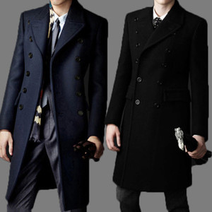 Fall-New  bakham Long trench coat wool coat Winter peacoat 2015 Men's Dust Coat mens clothing overcoat men's coats # A4423