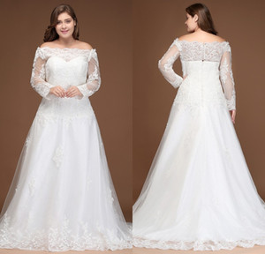 2018 플러스 사이즈 레이스 웨딩 드레스 깎아 지른 롱 슬리브 라인 Appliqued 비즈 Tulle 웨딩 드레스 CPS297