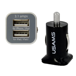 Hot 100 unids USAMS 3.1A Dual USB Car 2 Port Charger 5V 3100mah doble enchufe cargador de coche Adaptador para HTC Samsung s3 s4 s5