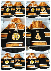 2016 Nuevo, 2015 Nuevos Old Time Barato Hombres Jerseys Boston Boston Bruins # 55 Johnny Boychuk 46 # David Krejci Fleece Hoodie Jerseys