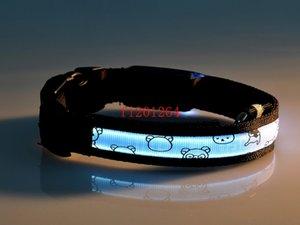 500 adet / grup Ücretsiz Kargo Ayı Tarzı LED Naylon Pet Yaka Gece Güvenlik LED Işık up Yanıp Glow Karanlık Köpek Yaka