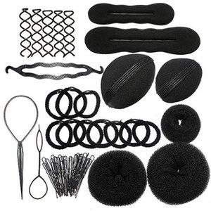 Женщины Braiders Hair Twist Инструменты Для Укладки 1 компл. Губка Заколки Для Волос Пластиковые Роликовые Бигуди Гребень Заколки Плетение Инструменты Для Волос B126